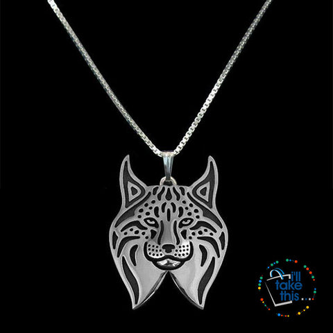 Image of Lynx Cat Vintage Metal Pendant in Gold, Silver or Rose Gold + FREE Link chain - I'LL TAKE THIS