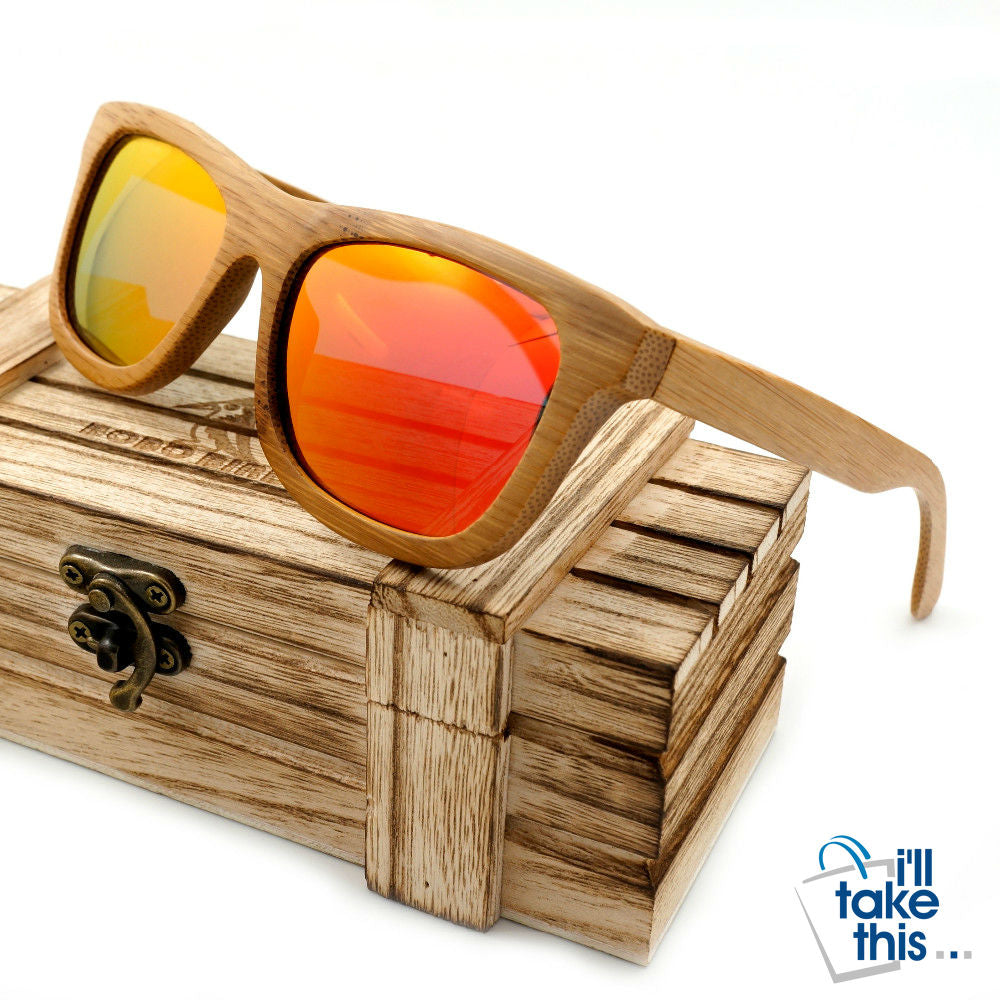 Gift Boxed Vintage Wayfarer Style Bamboo Wooden Sunglasses - I'LL TAKE THIS
