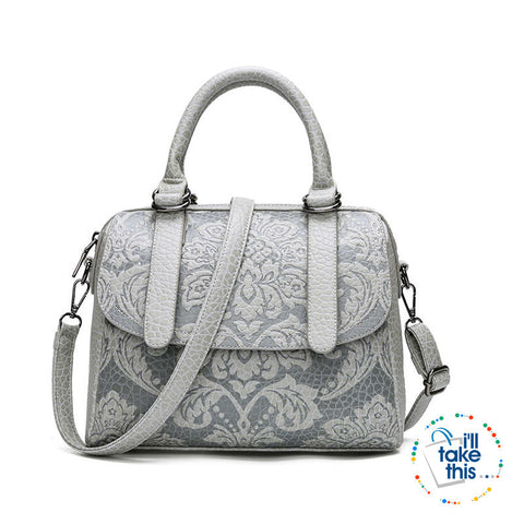 Image of Luxury Embossed Floral Design Handbag Collection in a Classic Antique Style Cross-body Bag, 4 Colors - I'LL TAKE THIS