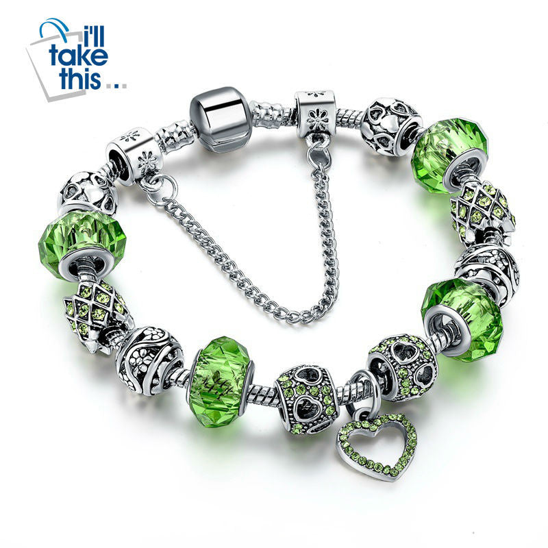 Charm Bracelets - Silver Plated with Heart design in Blue, Green, Pink with Crystal Beads - I'LL TAKE THIS