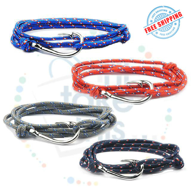 Adjustable Rope Fishing Style Bracelet, with a Silver Fishing hook clasp - I'LL TAKE THIS