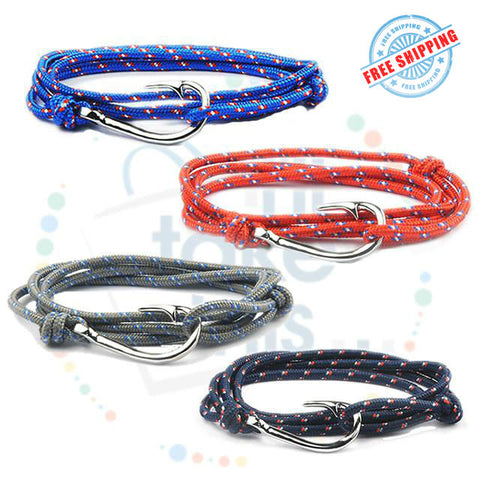 Image of Adjustable Rope Fishing Style Bracelet, with a Silver Fishing hook clasp - I'LL TAKE THIS