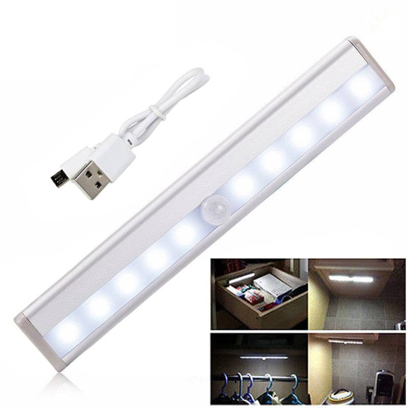 10 LED Wireless USB Rechargeable Motion Sensor Cabinet Light Under Counter Closet Lighting Magnetic Stick on Night Light Bar|Under Cabinet Lights| |  - AliExpress - I'LL TAKE THIS