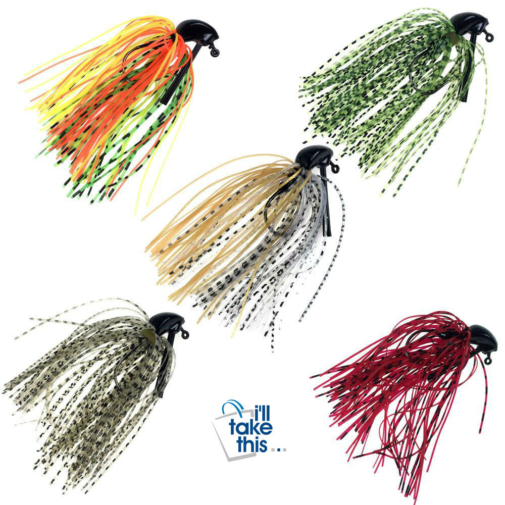BIG Bass Fly Fishing lures, 5 Pack of Artificial Bait Mixed Colors with Lead Skirt Rubber - I'LL TAKE THIS