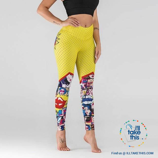 Comic Digital Printing Workout Leggings High Waist Push Up Leggings - Sizes: S-XL Pants - I'LL TAKE THIS