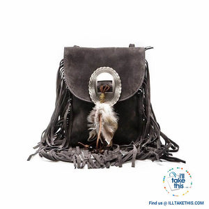Women's Handbag/Crossbody Shoulder bag - Boho Inspired Tassels fringes and a feather buckle - 3 Colors