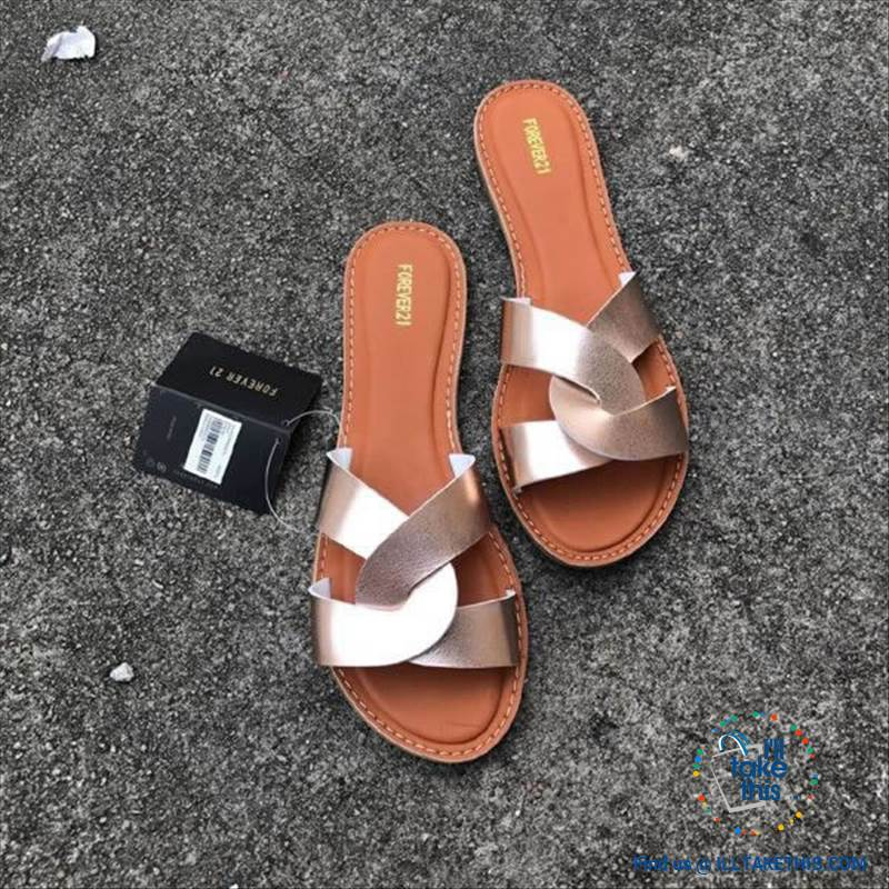 Cross Weave Women's Fashion Sandals, 8 Colors Option, ideal Flat healed Flip flops - I'LL TAKE THIS