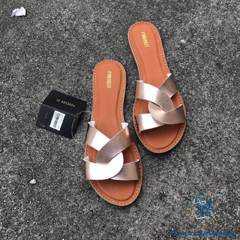 Image of Cross Weave Women's Fashion Sandals, 8 Colors Option, ideal Flat healed Flip flops - I'LL TAKE THIS
