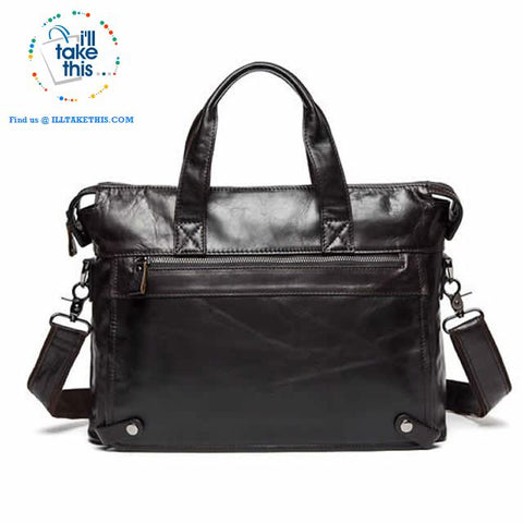"Image of Large 15"" Men's Casual Briefcase wrapped in Genuine Leather, Ideal for Computer/iPads/Laptops + more in a Crossbody Bag - 5 Color Options - I'LL TAKE THIS"