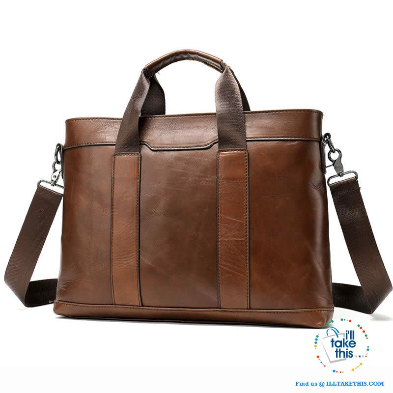 "15"" Men's Leather Briefcase, Ideal for Office essentials inc MacBook/iPad/Laptop + in Black or Brown - I'LL TAKE THIS"