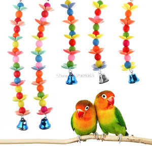 1PC - Colorful Pet Bird Parrot Parakeet Budgie Cockatoo Cage Bell Hanging Chew Toys