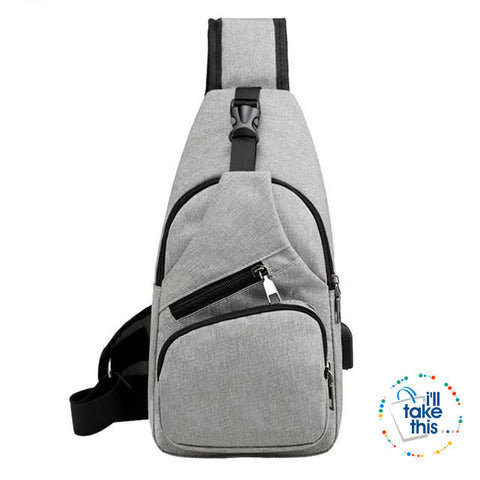 Single Shoulder Strap crossbody Canvas Bag + USB Charging access in an EASY Sling Shoulder Backpack - I'LL TAKE THIS