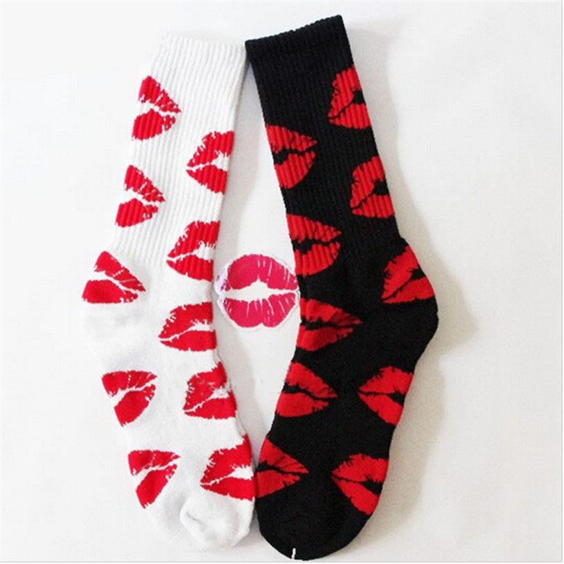 Cute Long Crew Sock Of Red Lip Kiss Pattern For Men or Women in Black or White Sox color - I'LL TAKE THIS