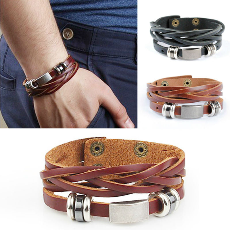Men's Multi-wrap Leather Bracelets in brown/black with stainless buckle Great male jewelry cool look - I'LL TAKE THIS