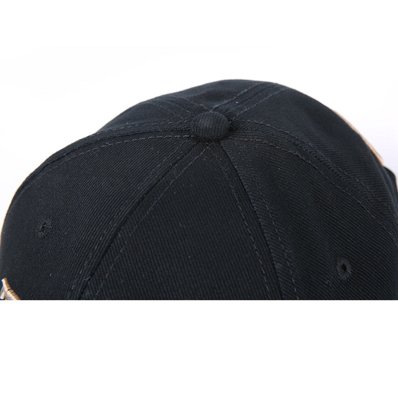 Pure Cotton Fish Bones Embroidered Baseball Fishing Caps, Black-White or Navy-Gold - I'LL TAKE THIS