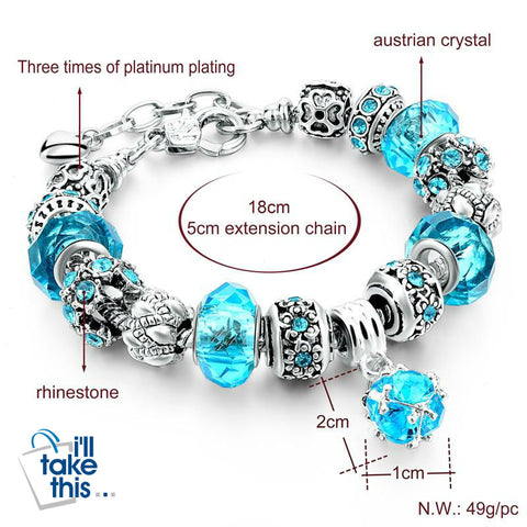 Crystal Beads Bracelets/Bangles Silver Plated Charm Bracelets For Women - I'LL TAKE THIS