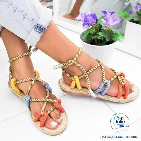 Image of Natural Hemp Rope style Women's Flat Sandals, Flip flops - 6 Color Options - I'LL TAKE THIS