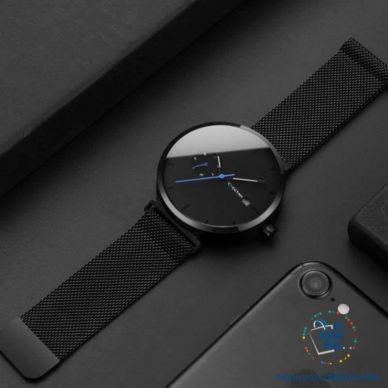 Ambassador Blue Point Ultra Sleek Men's Wristwatch all Black with Mesh Stainless Wristband - I'LL TAKE THIS