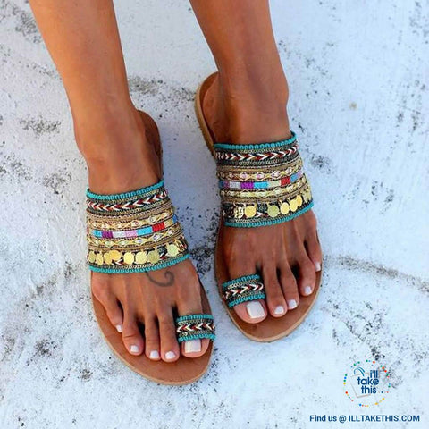 Image of Handmade Women's Woven Bohemian Beach Sandals/Flip Flops - I'LL TAKE THIS