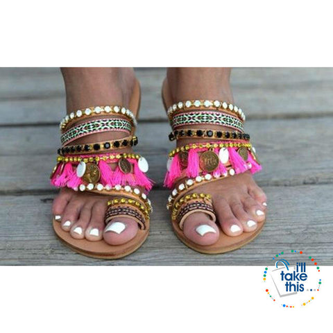 Image of Bohemian Beach Sandals, Flip Flops with gorgeous Fringe Roman Crystals Summer in Lavender - I'LL TAKE THIS