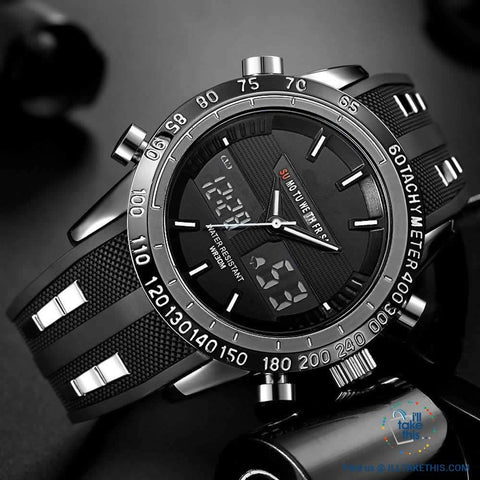 Image of Dual Faced Water Resistant Sports Watch ⌚ Analog/Digital Men's Quartz Wristwatch - I'LL TAKE THIS