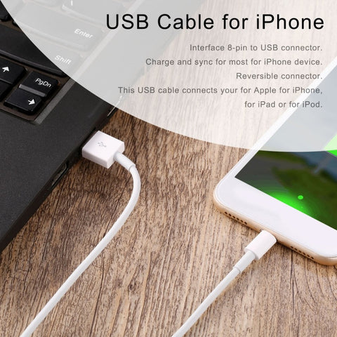 Image of Lightning to USB Cable for iPhone X, 8, 7, 6 or 5s or iPad - Fast Charging Data Cable - 3 or 6 PACK - I'LL TAKE THIS