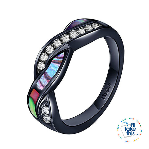 Image of Black Gold-Filled Rainbow RING, Romantic Colorful Shell Rainbow Cubic Zirconia Cross Ring -9 sizes - I'LL TAKE THIS