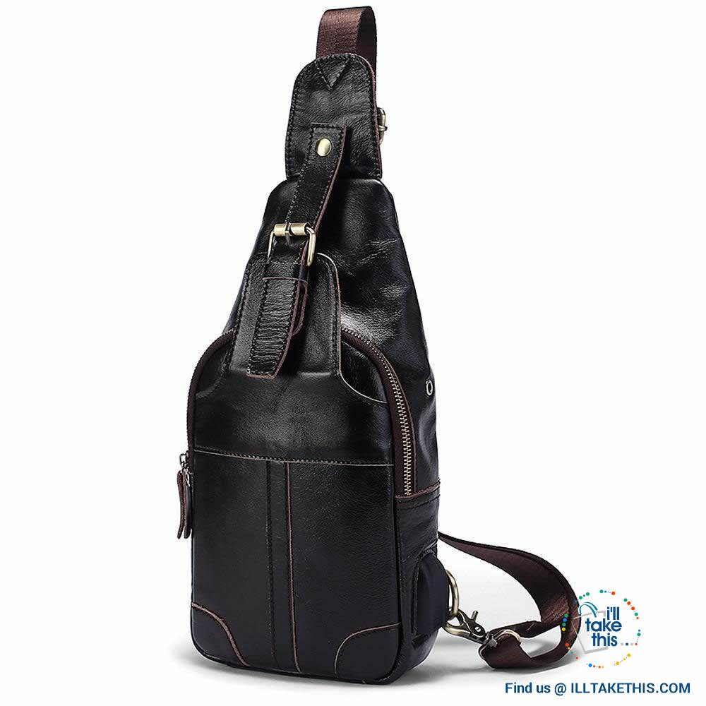 EASY Sling Shoulder All Leather Back Pack with USB Charging - I'LL TAKE THIS