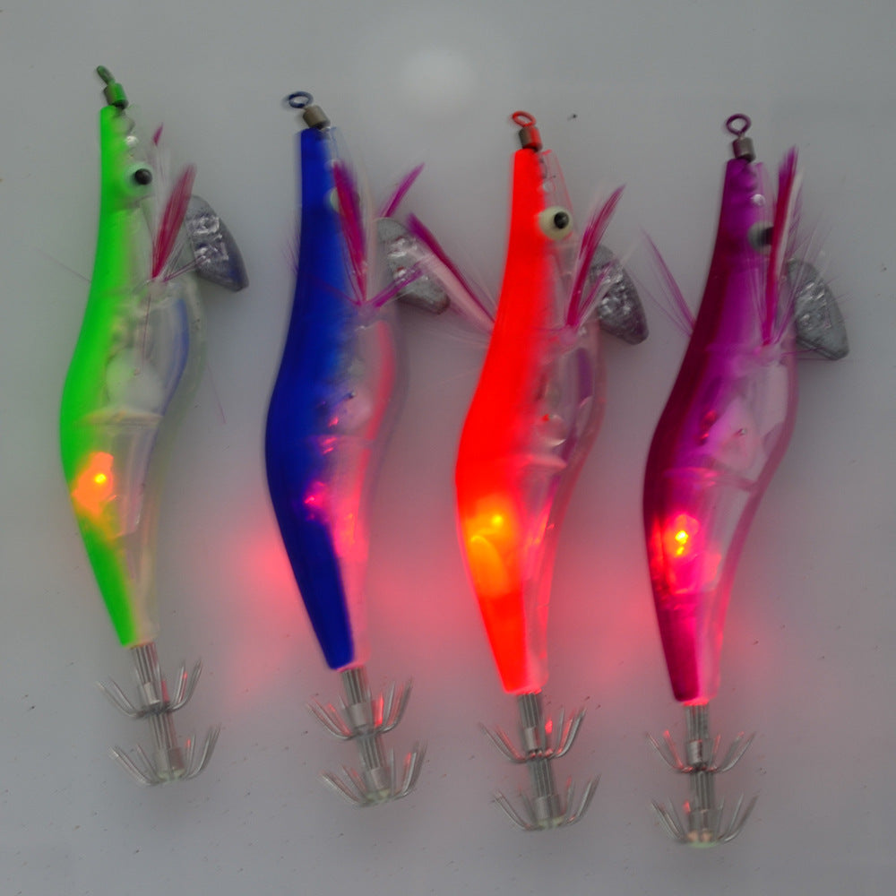 Fishing Lure LED Luminous Squid Jig 4 Piece various color Set - Squid Jig Night Fishing Lures - I'LL TAKE THIS