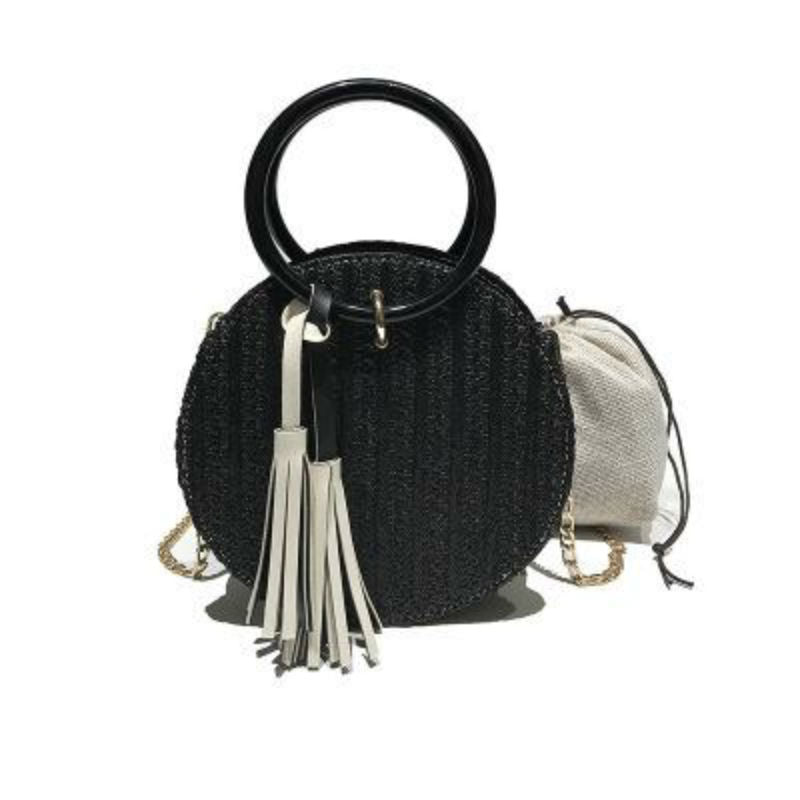 Round Stylish Straw Bag Handbag with Small Chain Shoulder Strap 3 Colors - I'LL TAKE THIS