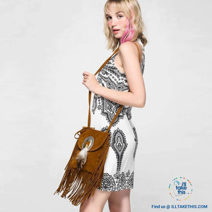 Women's Handbag/Crossbody Shoulder bag - Boho Inspired Tassels fringes and a feather buckle - 3 Colors - I'LL TAKE THIS