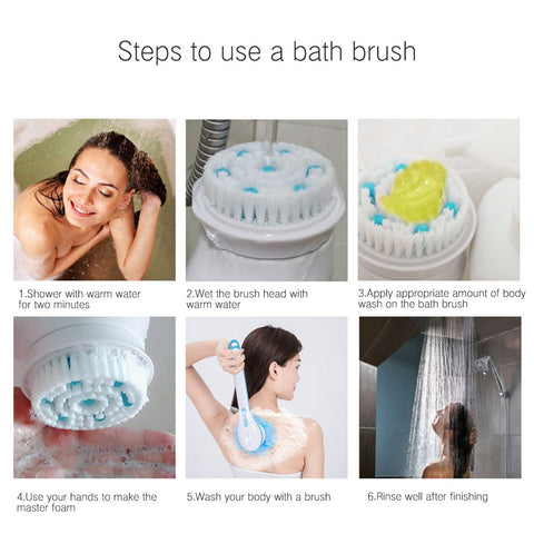 Image of 5 in 1 Cleaning Body Bath Scrubber, Massage Brushes - all you'll need for an in-home Spa experience