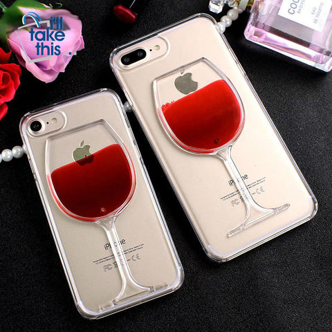 Image of Red_Wine Cup Transparent Case for iPhone X, 8/Plus,7/Plus, 6, 6s, iPhone SE Hard Clear Phone Cover - I'LL TAKE THIS