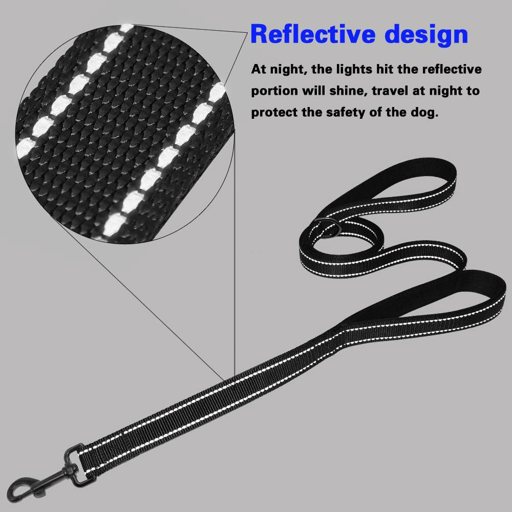 "Dog Leash 56""/142cm  - 2 Handles Black Nylon Padded Double Handle Leash - I'LL TAKE THIS"