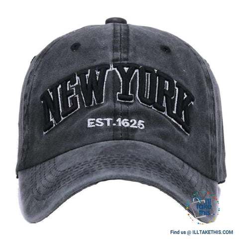 Image of New York embroidery Sand washed 100% cotton baseball caps, Unisex design Caps - 6 Colors - I'LL TAKE THIS