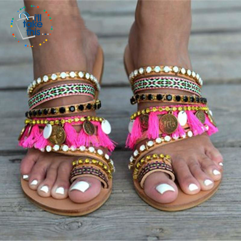 Bohemian Beach Sandals, Flip Flops with gorgeous Fringe Roman Crystals Summer in Lavender - I'LL TAKE THIS