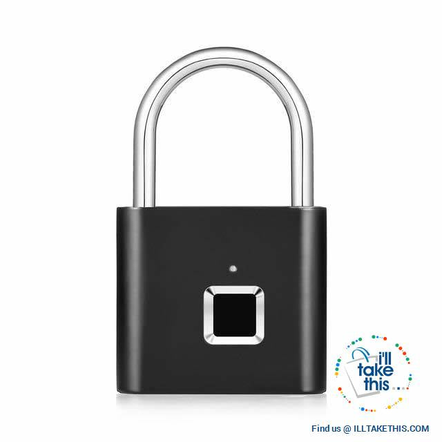 Fingerprint Padlock  - 10 Memory Quick Unlock USB Charger - Silver or Black - I'LL TAKE THIS