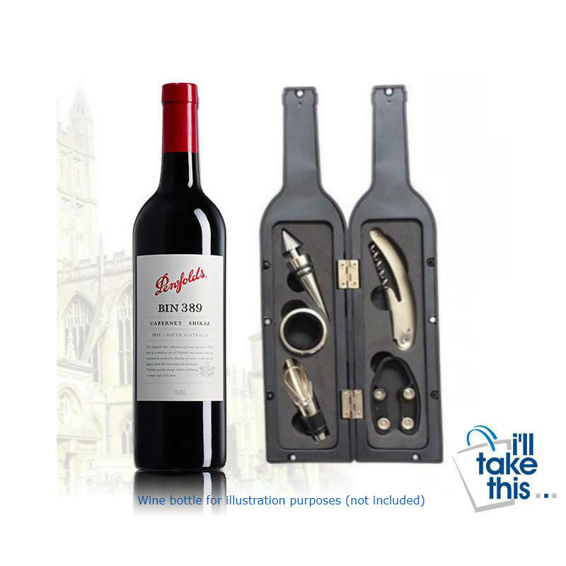Vino Bottle Corkscrew & Accessory Tool Set - Bottle-Shaped Ideal Gift - I'LL TAKE THIS
