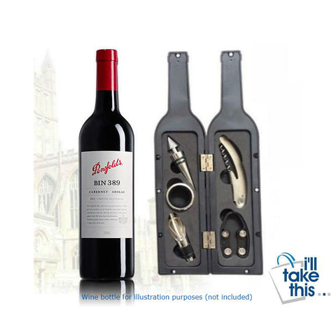 Image of Vino Bottle Corkscrew & Accessory Tool Set - Bottle-Shaped Ideal Gift - I'LL TAKE THIS