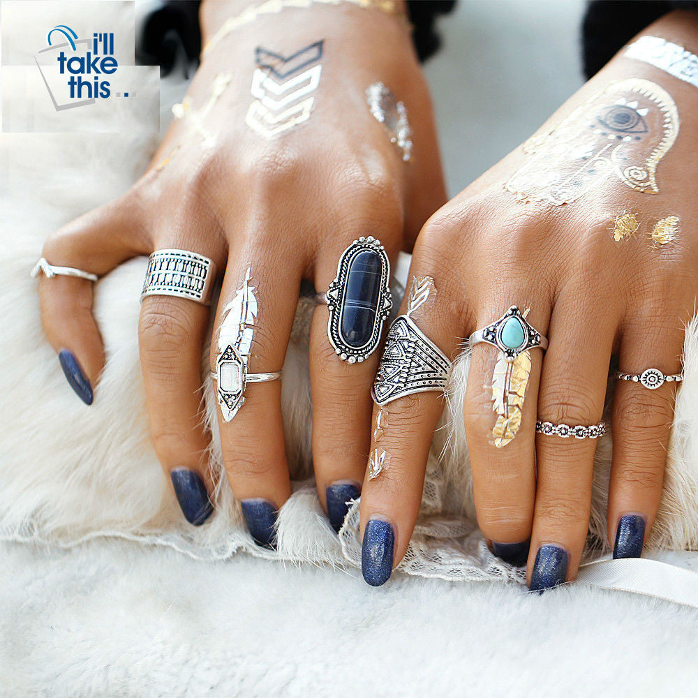 Boho Beach Vintage Tibetan Turkish Crystal Silver Flower Knuckle Rings Gift pack 8pcs Midi Ring Set - I'LL TAKE THIS