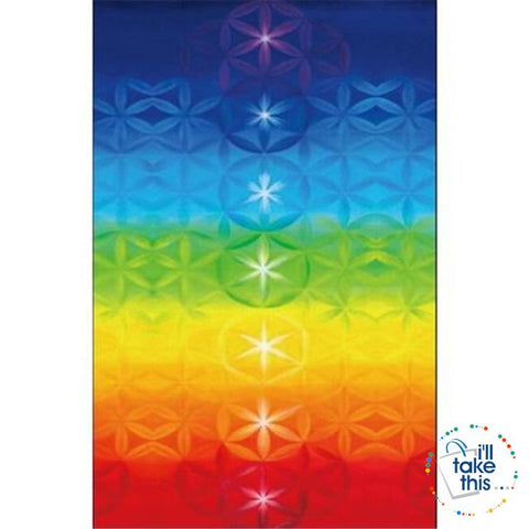 Image of 🧘 7 Chakra Colored, Mandala Blanket/Rainbow Stripes Tapestry Yoga Mats - Ideal for Yoga, Pilates Class - I'LL TAKE THIS