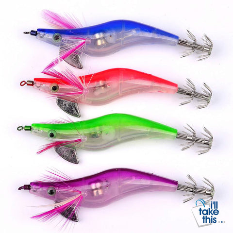 Image of Fishing Lure LED Luminous Squid Jig 4 Piece various color Set - Squid Jig Night Fishing Lures - I'LL TAKE THIS