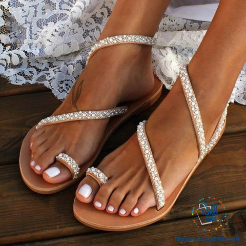 Image of Exquisite Pearl styled Bohemian Sandals with Luminous Rhinestone Crystals - I'LL TAKE THIS