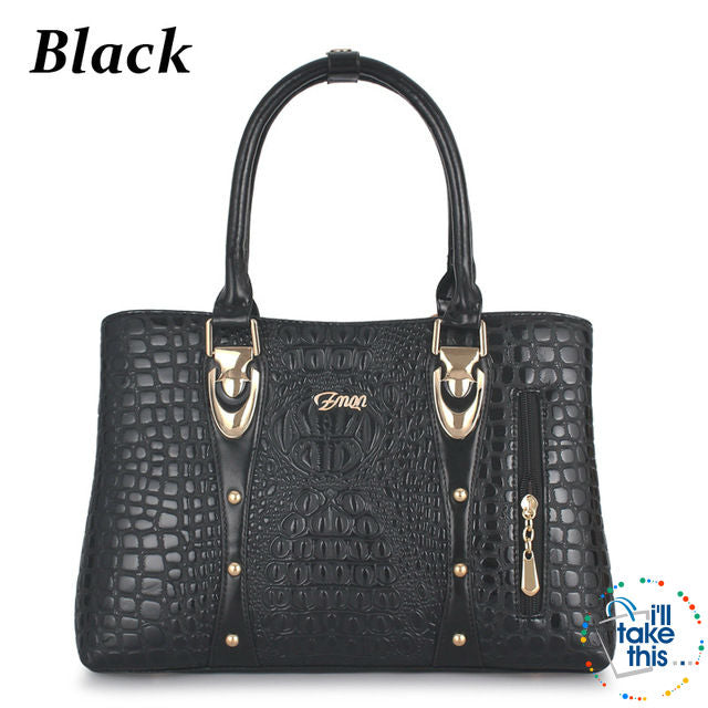 39c51b21437a Crocodile Alligator Design Vegan Leather Women s Handbag - FOUR ...