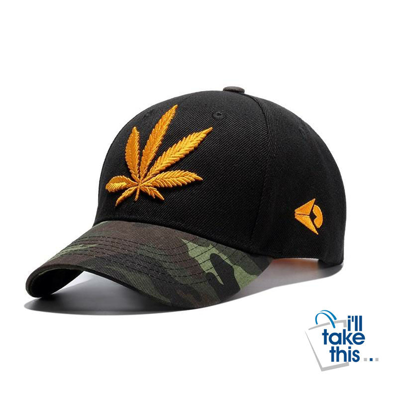 Hemp Leaf Emblem Baseball Cap Unisex Sports leisure hats - Adjustable strap, one size fits all - I'LL TAKE THIS