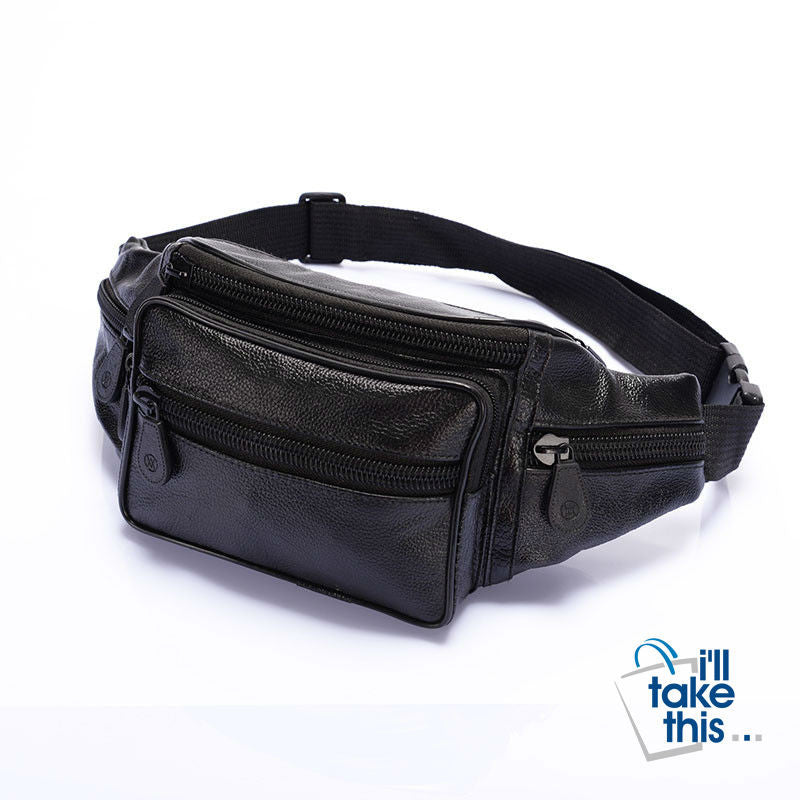 Bum Bag for Men & Women in Leather Oil Wax for Travel, Riding, Hip Bum Belt Pouch - I'LL TAKE THIS
