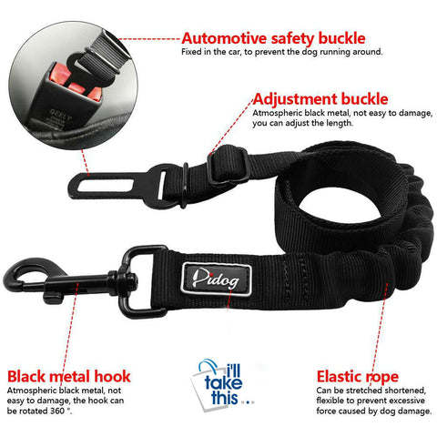 Image of Adjustable Pet Seat Belt - Safety Leads Vehicle Seat-belt Harness with Elastic Bungee Leash - I'LL TAKE THIS