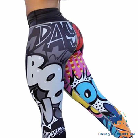 Image of Comic Digital Printing Workout Leggings High Waist Push Up Leggings - Sizes: S-XL Pants - I'LL TAKE THIS