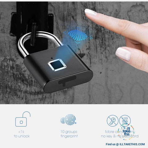 Image of Fingerprint Padlock  - 10 Memory Quick Unlock USB Charger - Silver or Black - I'LL TAKE THIS