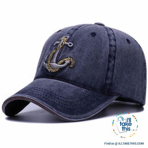 Image of ⚓ Nautical Vintage Anchor embroidered Distressed Soft cotton baseball cap - 4 Colors, Unisex - I'LL TAKE THIS
